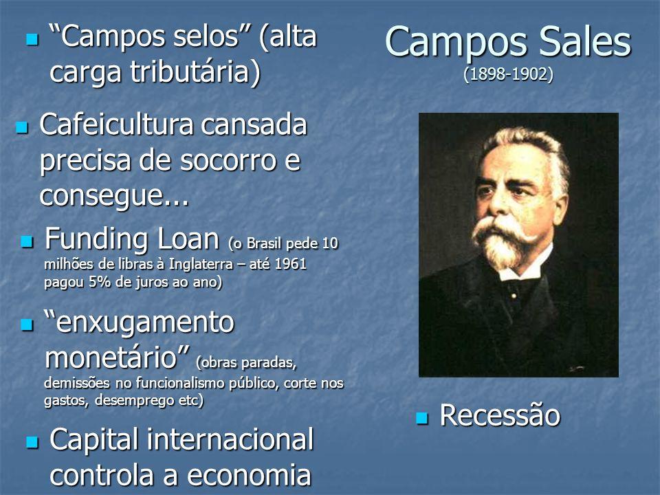 Campos Sales (1898-1902) Campos selos (alta carga tributária) Campos selos (alta carga tributária) Cafeicultura cansada precisa de socorro e consegue.