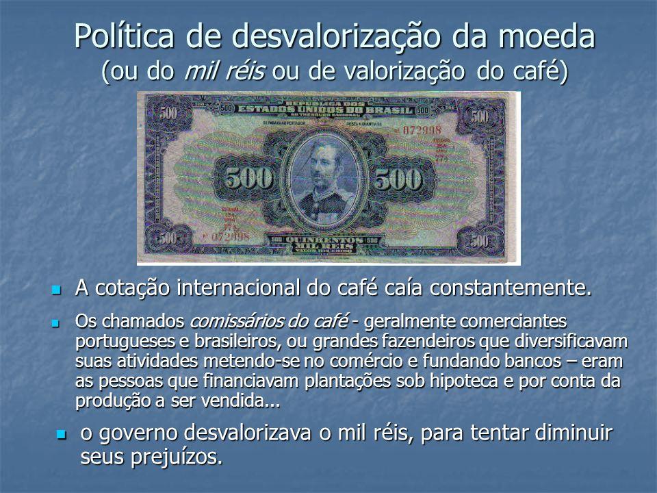 Política de desvalorização da moeda (ou do mil réis ou de valorização do café) A cotação internacional do café caía constantemente. A cotação internac