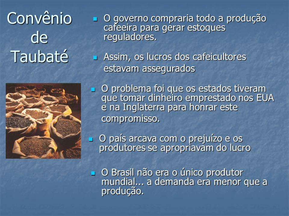 Convênio de Taubaté O governo compraria todo a produção cafeeira para gerar estoques reguladores. O governo compraria todo a produção cafeeira para ge