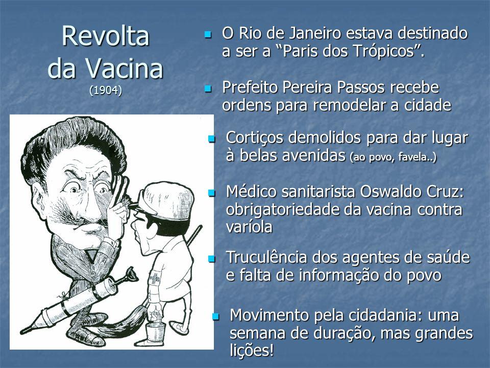 Revolta da Vacina (1904) O Rio de Janeiro estava destinado a ser a Paris dos Trópicos. O Rio de Janeiro estava destinado a ser a Paris dos Trópicos. P