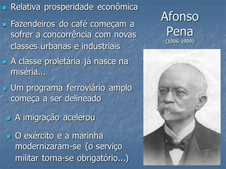Afonso Pena (1906-1909) Relativa prosperidade econômica Relativa prosperidade econômica Fazendeiros do café começam a sofrer a concorrência com novas