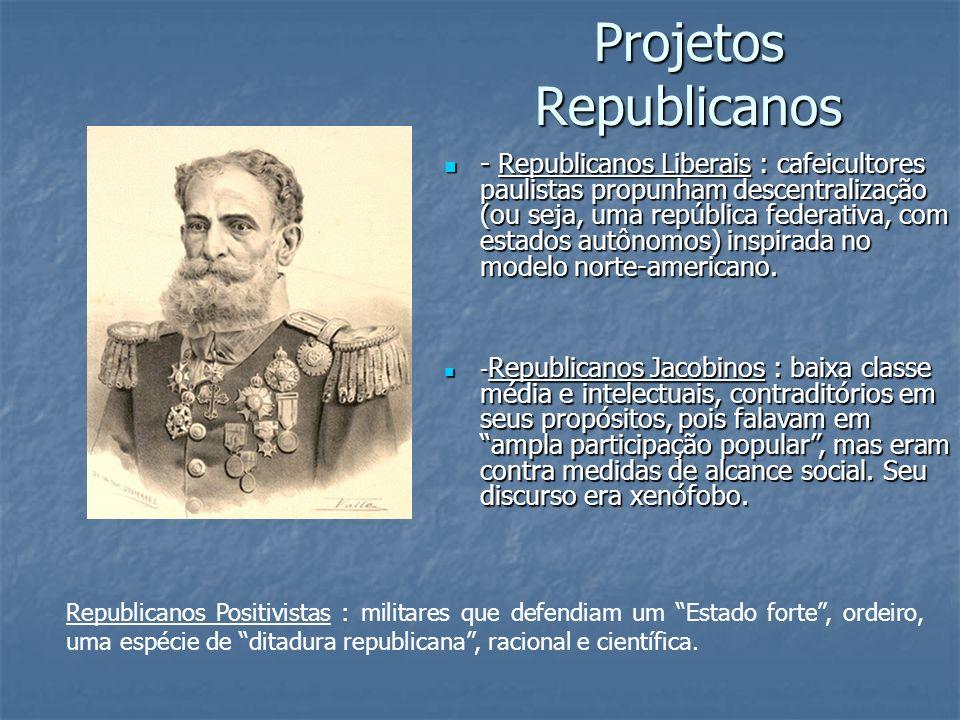 Projetos Republicanos - Republicanos Liberais : cafeicultores paulistas propunham descentralização (ou seja, uma república federativa, com estados aut
