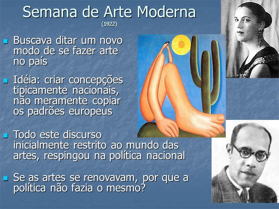 Semana de Arte Moderna (1922) Buscava ditar um novo modo de se fazer arte no país Buscava ditar um novo modo de se fazer arte no país Idéia: criar con