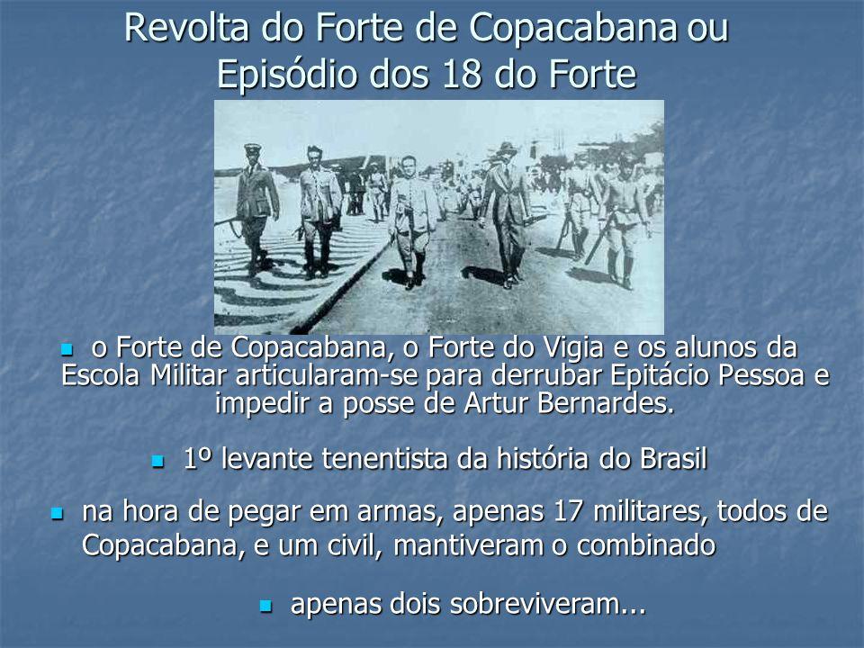Revolta do Forte de Copacabana ou Episódio dos 18 do Forte o Forte de Copacabana, o Forte do Vigia e os alunos da Escola Militar articularam-se para d