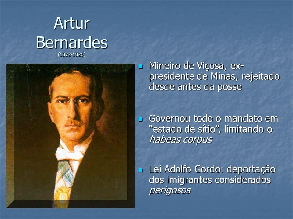 Artur Bernardes (1922-1926) Mineiro de Viçosa, ex- presidente de Minas, rejeitado desde antes da posse Mineiro de Viçosa, ex- presidente de Minas, rej