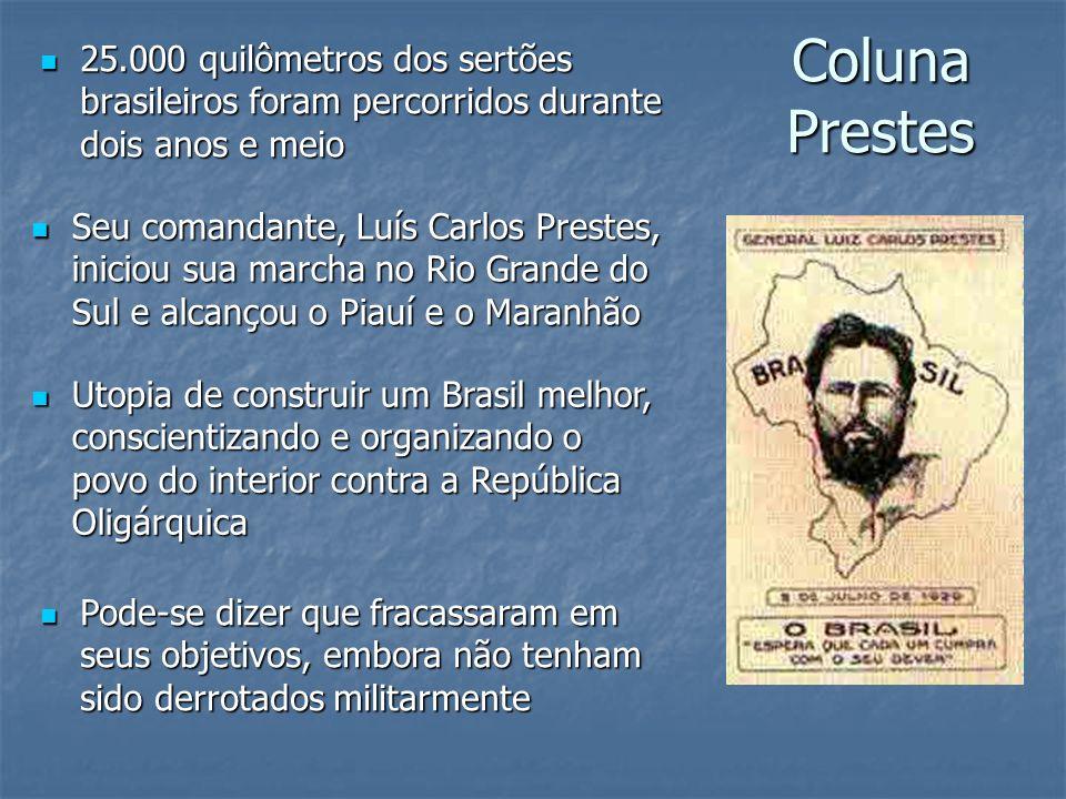 Coluna Prestes 25.000 quilômetros dos sertões brasileiros foram percorridos durante dois anos e meio 25.000 quilômetros dos sertões brasileiros foram