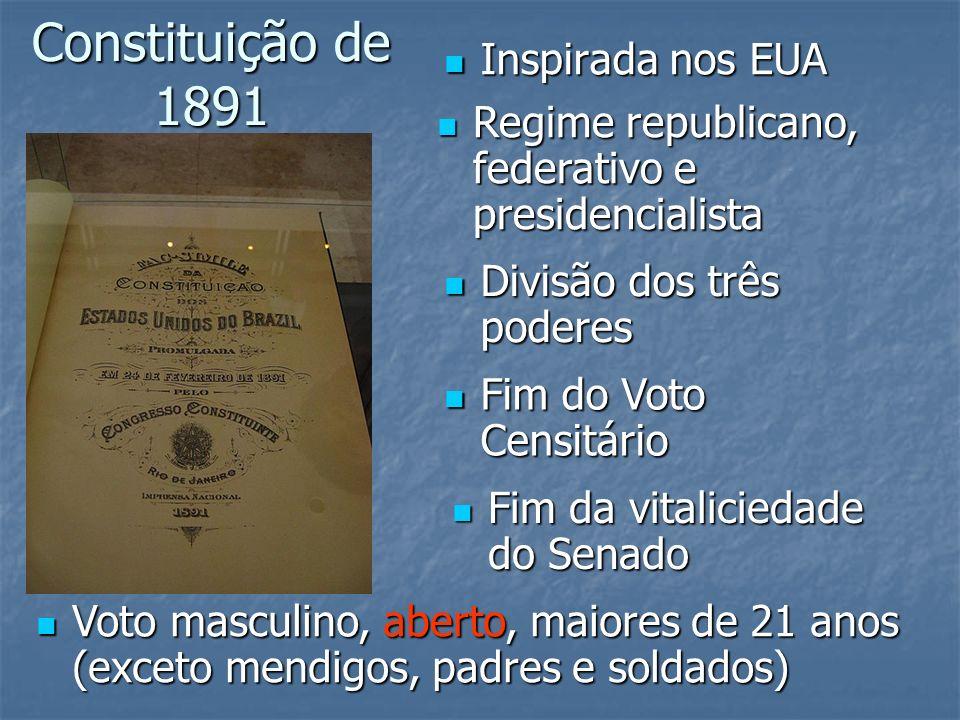 Constituição de 1891 Inspirada nos EUA Inspirada nos EUA Regime republicano, federativo e presidencialista Regime republicano, federativo e presidenci