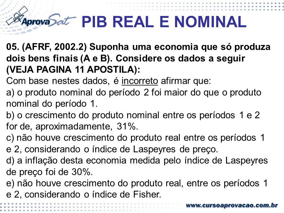 PIB REAL E NOMINAL 05. (AFRF, 2002.2) Suponha uma economia que só produza dois bens finais (A e B). Considere os dados a seguir (VEJA PAGINA 11 APOSTI