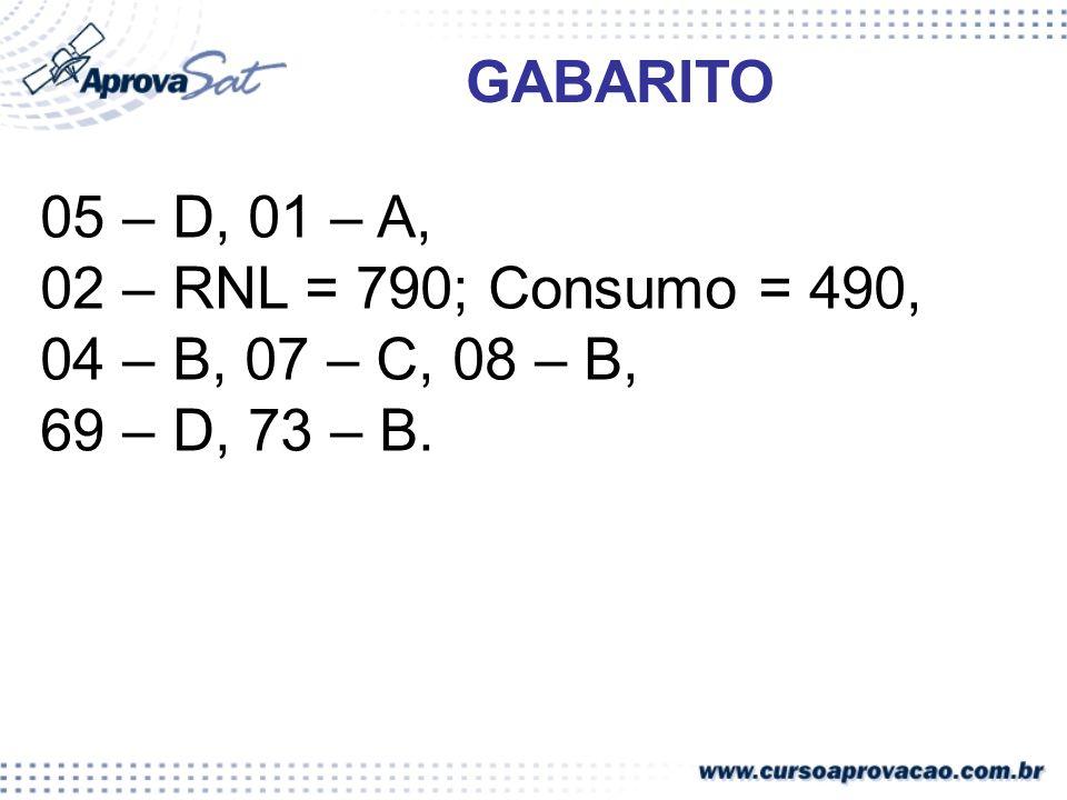 05 – D, 01 – A, 02 – RNL = 790; Consumo = 490, 04 – B, 07 – C, 08 – B, 69 – D, 73 – B. GABARITO