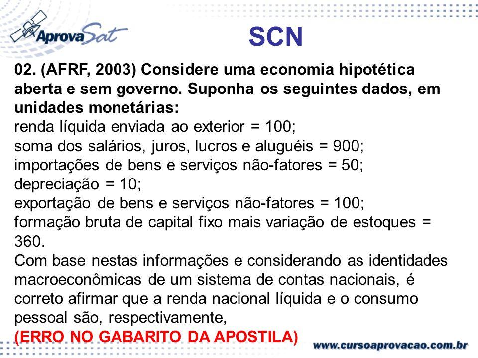 SCN 02. (AFRF, 2003) Considere uma economia hipotética aberta e sem governo. Suponha os seguintes dados, em unidades monetárias: renda líquida enviada