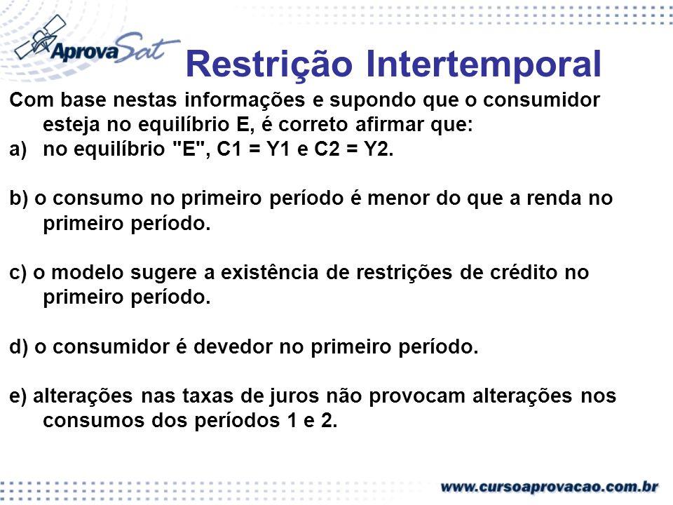 Restrição Intertemporal Com base nestas informações e supondo que o consumidor esteja no equilíbrio E, é correto afirmar que: a)no equilíbrio