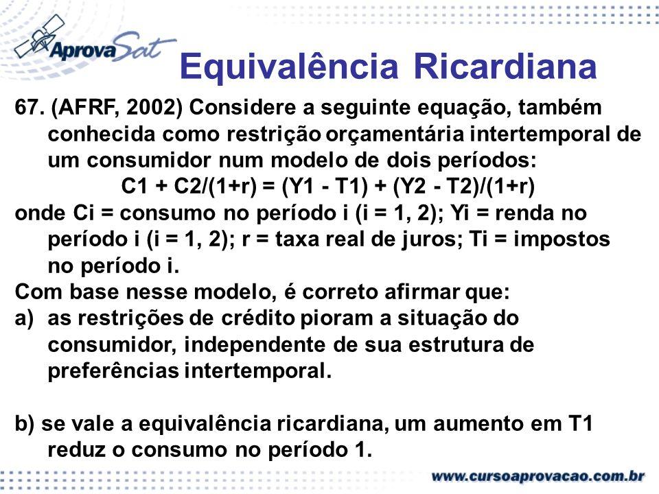 Equivalência Ricardiana 67. (AFRF, 2002) Considere a seguinte equação, também conhecida como restrição orçamentária intertemporal de um consumidor num