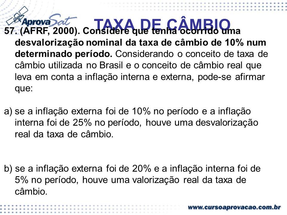 57. (AFRF, 2000). Considere que tenha ocorrido uma desvalorização nominal da taxa de câmbio de 10% num determinado período. Considerando o conceito de