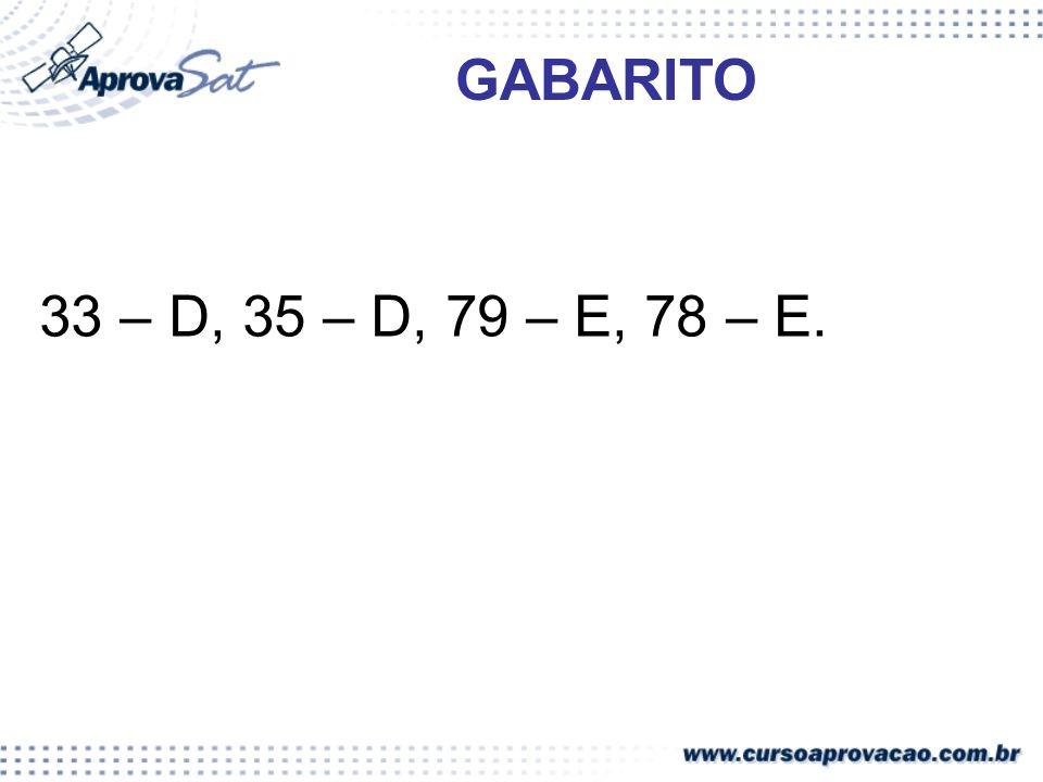 33 – D, 35 – D, 79 – E, 78 – E. GABARITO