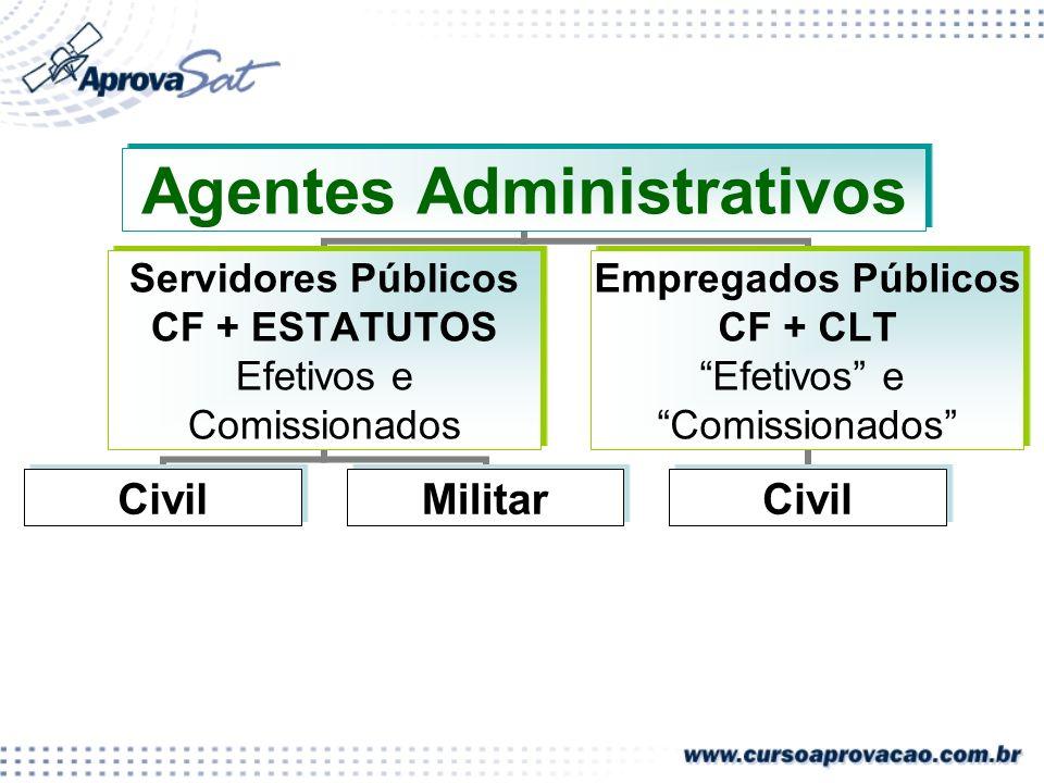 Agentes Administrativos Servidores Públicos CF + ESTATUTOS Efetivos e Comissionados CivilMilitar Empregados Públicos CF + CLT Efetivos e Comissionados Civil