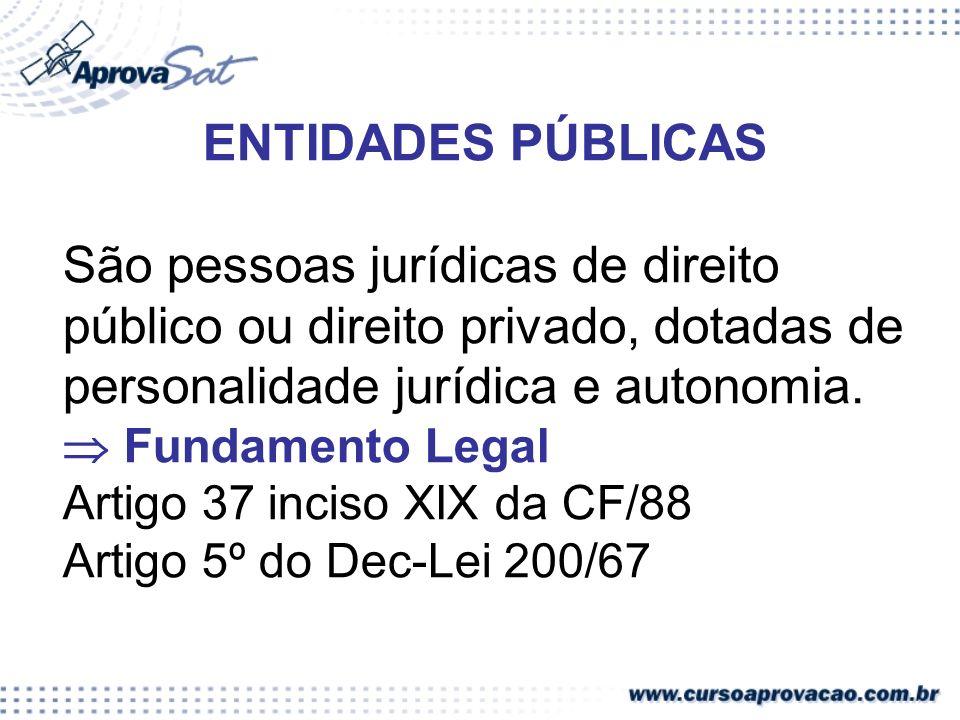 ENTIDADES PÚBLICAS São pessoas jurídicas de direito público ou direito privado, dotadas de personalidade jurídica e autonomia. Fundamento Legal Artigo