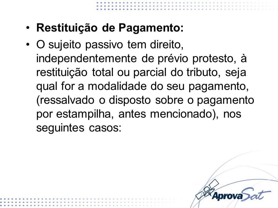Restituição de Pagamento: O sujeito passivo tem direito, independentemente de prévio protesto, à restituição total ou parcial do tributo, seja qual fo