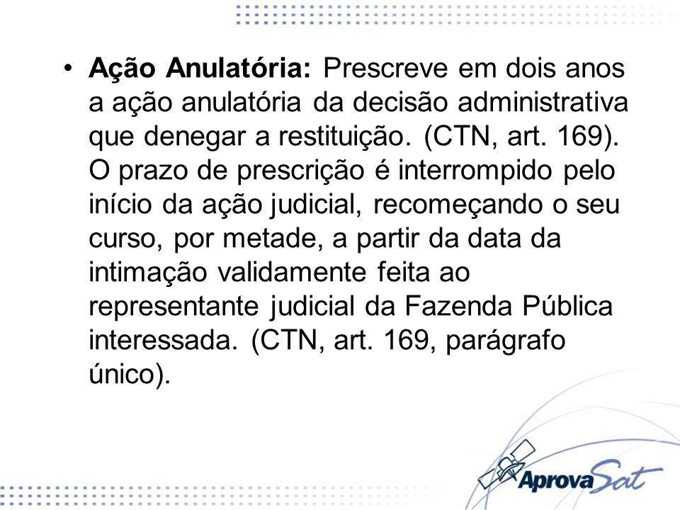 Ação Anulatória: Prescreve em dois anos a ação anulatória da decisão administrativa que denegar a restituição. (CTN, art. 169). O prazo de prescrição