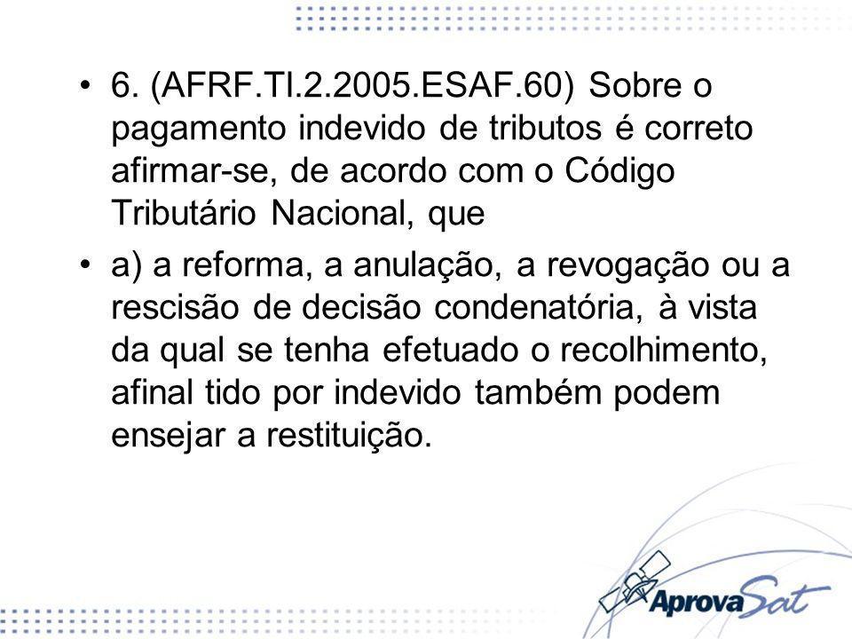6. (AFRF.TI.2.2005.ESAF.60) Sobre o pagamento indevido de tributos é correto afirmar-se, de acordo com o Código Tributário Nacional, que a) a reforma,