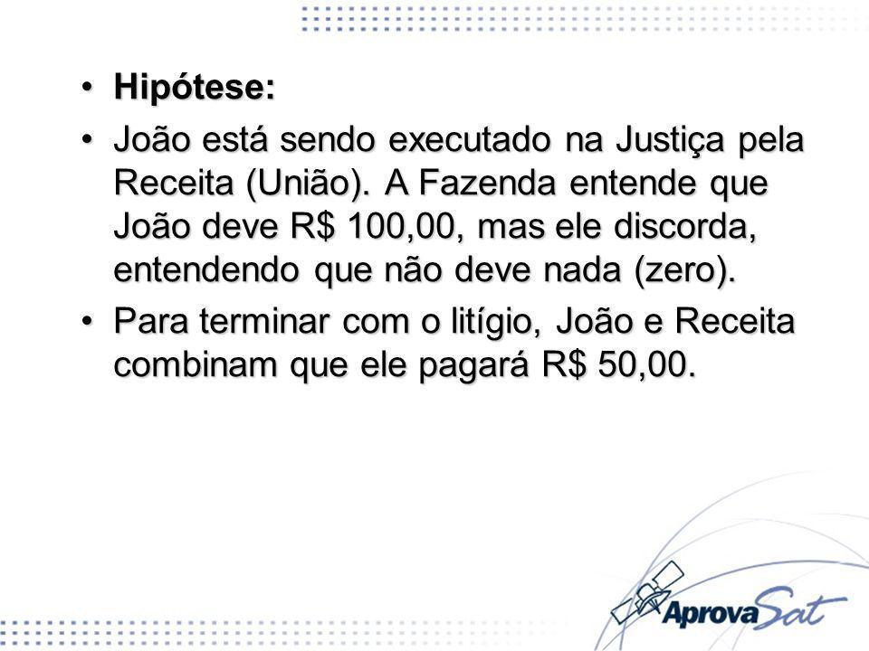 Hipótese:Hipótese: João está sendo executado na Justiça pela Receita (União). A Fazenda entende que João deve R$ 100,00, mas ele discorda, entendendo