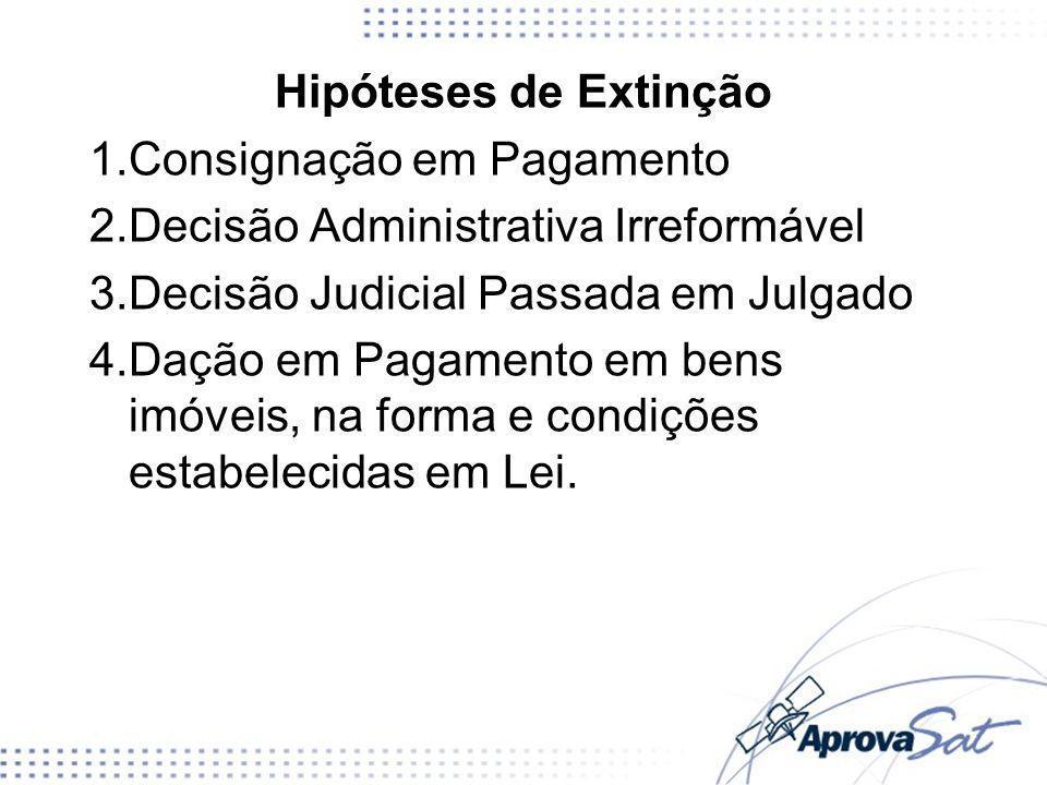 Hipóteses de Extinção 1.Consignação em Pagamento 2.Decisão Administrativa Irreformável 3.Decisão Judicial Passada em Julgado 4.Dação em Pagamento em b