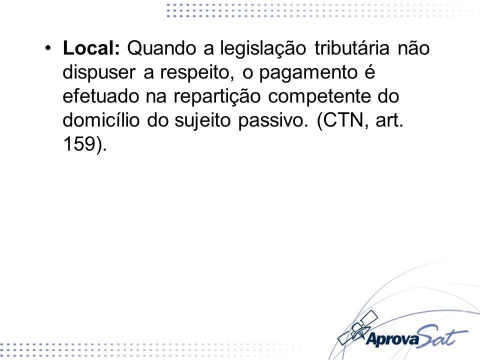 Local: Quando a legislação tributária não dispuser a respeito, o pagamento é efetuado na repartição competente do domicílio do sujeito passivo. (CTN,