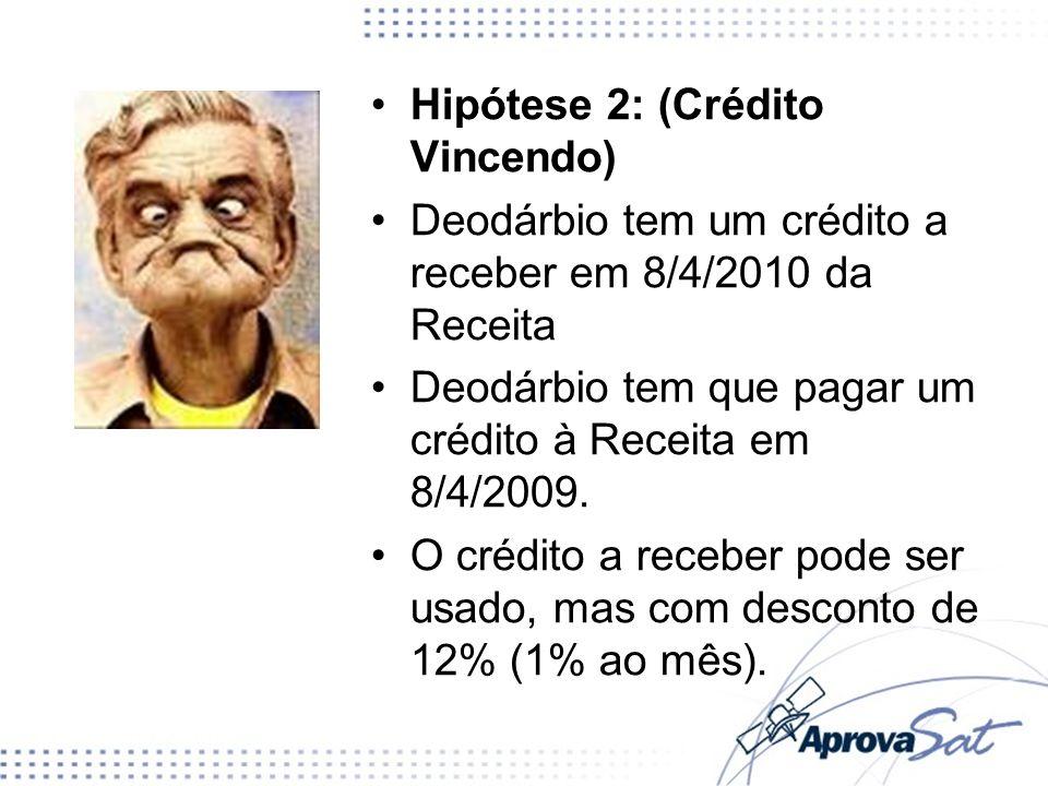 Hipótese 2: (Crédito Vincendo) Deodárbio tem um crédito a receber em 8/4/2010 da Receita Deodárbio tem que pagar um crédito à Receita em 8/4/2009. O c