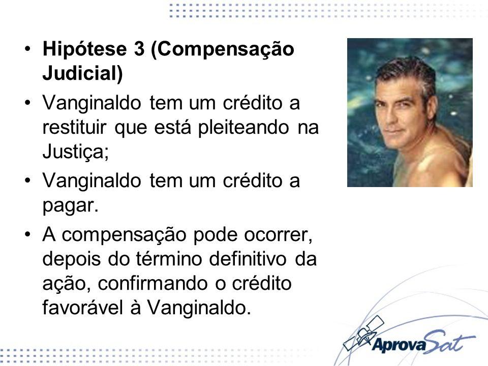 Hipótese 3 (Compensação Judicial) Vanginaldo tem um crédito a restituir que está pleiteando na Justiça; Vanginaldo tem um crédito a pagar. A compensaç