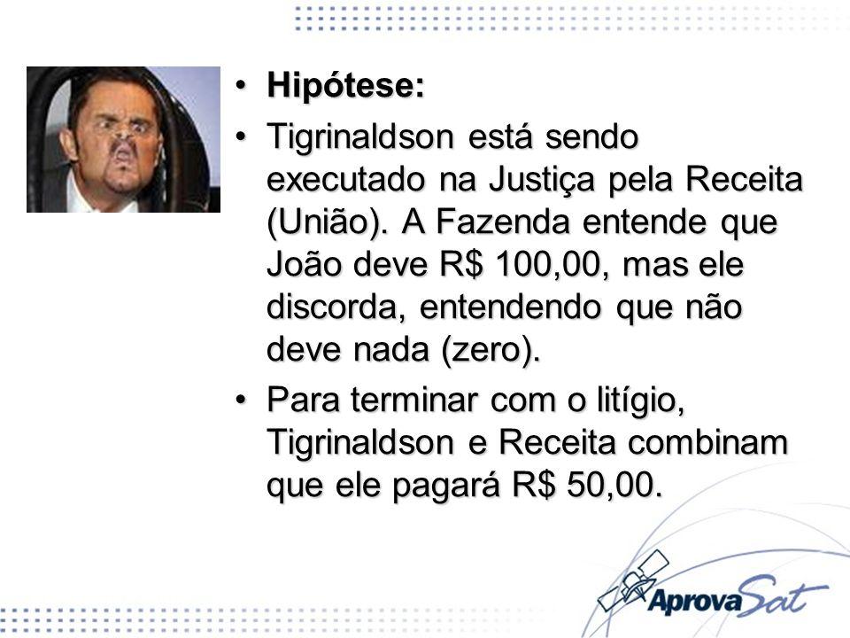 Hipótese:Hipótese: Tigrinaldson está sendo executado na Justiça pela Receita (União). A Fazenda entende que João deve R$ 100,00, mas ele discorda, ent