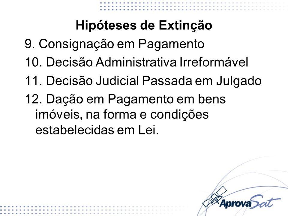 Hipóteses de Extinção 9. Consignação em Pagamento 10. Decisão Administrativa Irreformável 11. Decisão Judicial Passada em Julgado 12. Dação em Pagamen