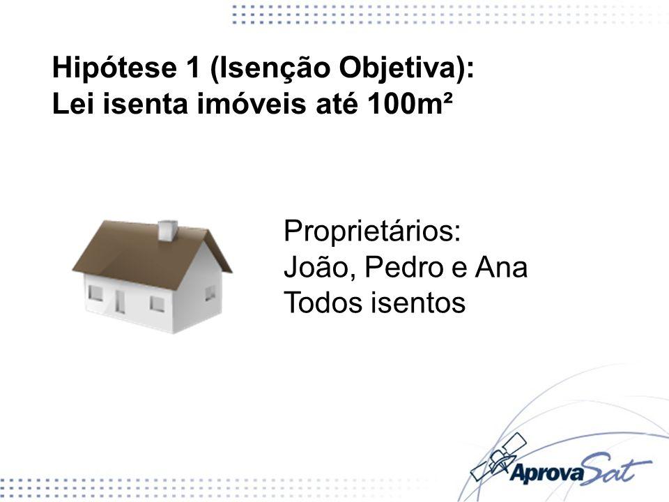 Hipótese 1 (Isenção Objetiva): Lei isenta imóveis até 100m² Proprietários: João, Pedro e Ana Todos isentos