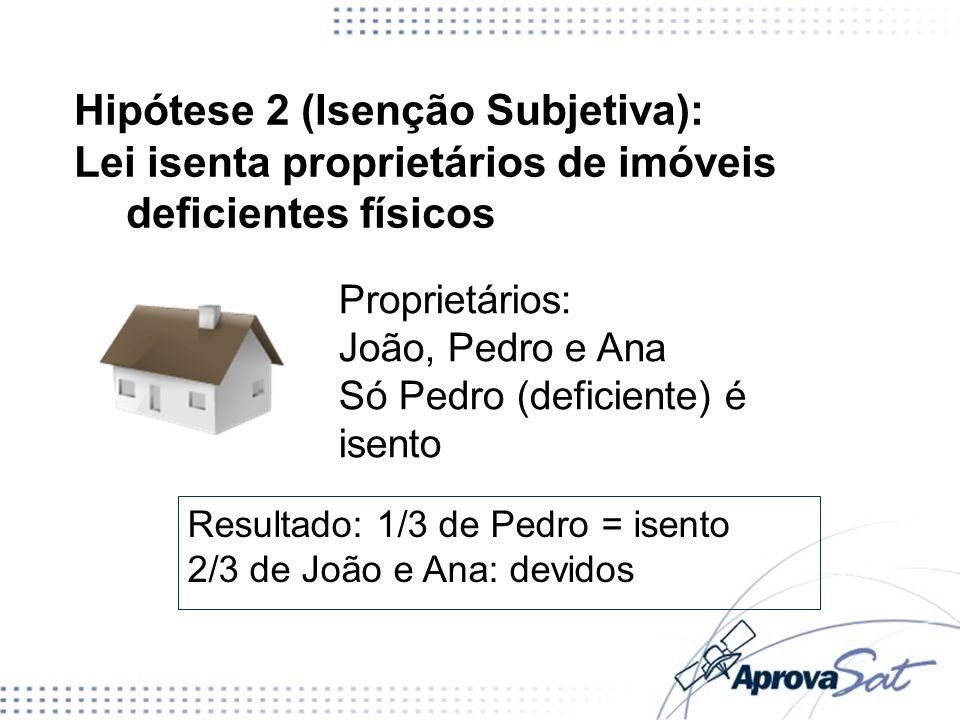 Hipótese 2 (Isenção Subjetiva): Lei isenta proprietários de imóveis deficientes físicos Proprietários: João, Pedro e Ana Só Pedro (deficiente) é isent
