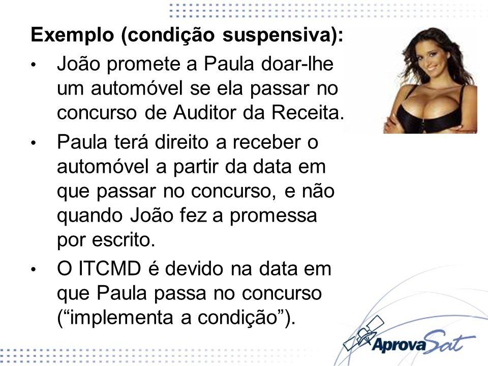 Exemplo (condição suspensiva): João promete a Paula doar-lhe um automóvel se ela passar no concurso de Auditor da Receita.