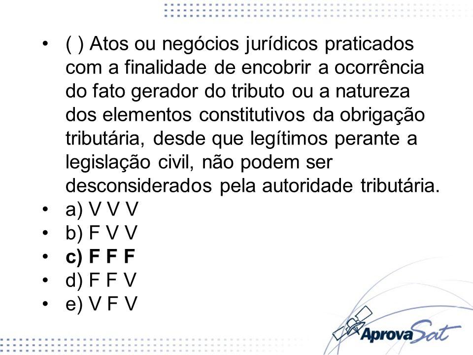 ( ) Atos ou negócios jurídicos praticados com a finalidade de encobrir a ocorrência do fato gerador do tributo ou a natureza dos elementos constitutiv
