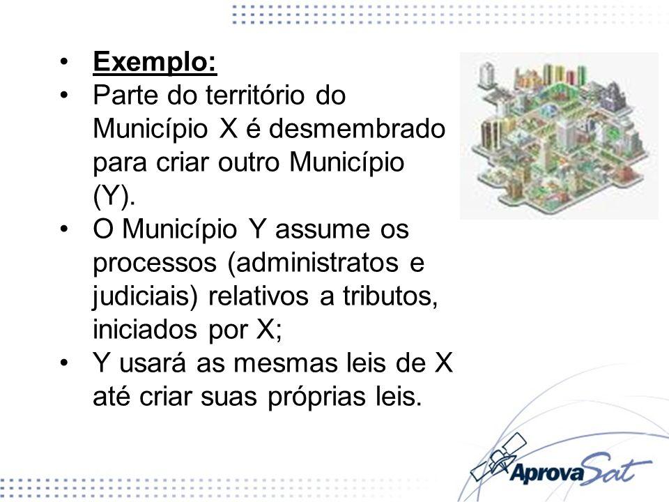 Exemplo: Parte do território do Município X é desmembrado para criar outro Município (Y). O Município Y assume os processos (administratos e judiciais