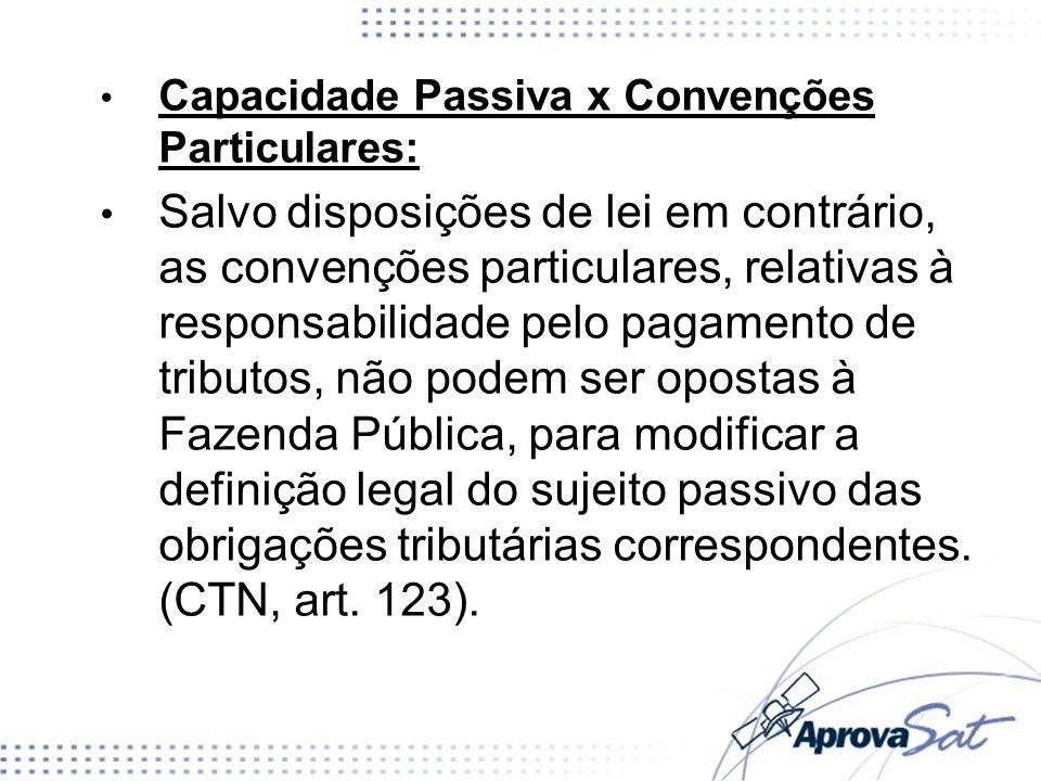 Capacidade Passiva x Convenções Particulares: Salvo disposições de lei em contrário, as convenções particulares, relativas à responsabilidade pelo pag