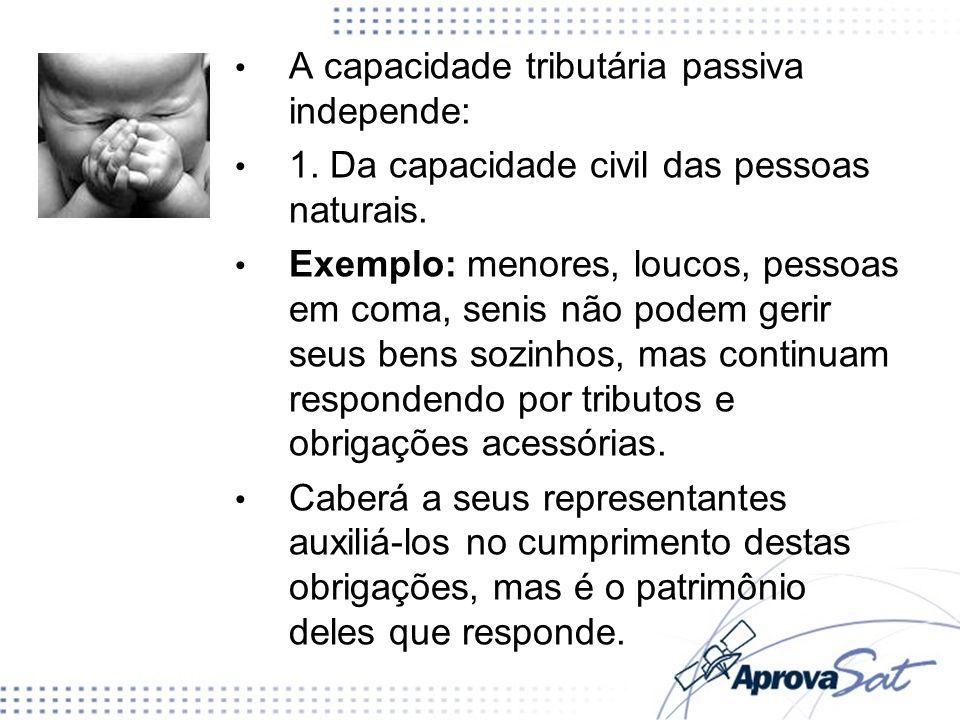 A capacidade tributária passiva independe: 1.Da capacidade civil das pessoas naturais.