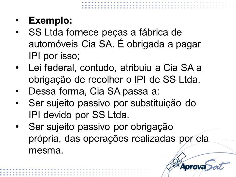 Exemplo: SS Ltda fornece peças a fábrica de automóveis Cia SA. É obrigada a pagar IPI por isso; Lei federal, contudo, atribuiu a Cia SA a obrigação de
