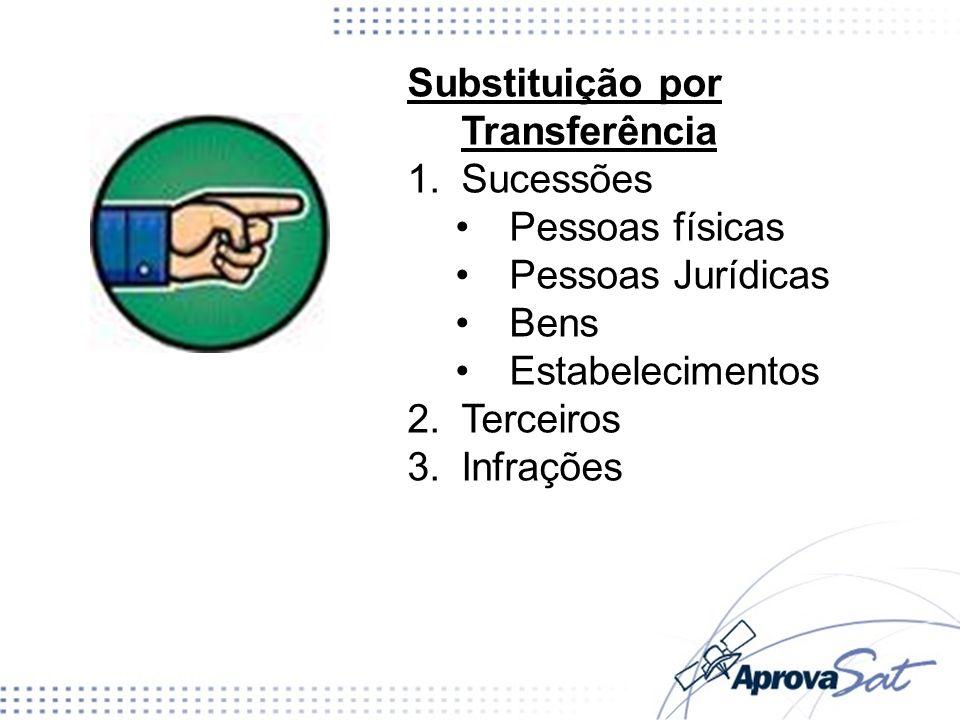 Substituição por Transferência 1.Sucessões Pessoas físicas Pessoas Jurídicas Bens Estabelecimentos 2.Terceiros 3.Infrações