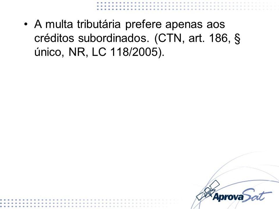 A multa tributária prefere apenas aos créditos subordinados. (CTN, art. 186, § único, NR, LC 118/2005).