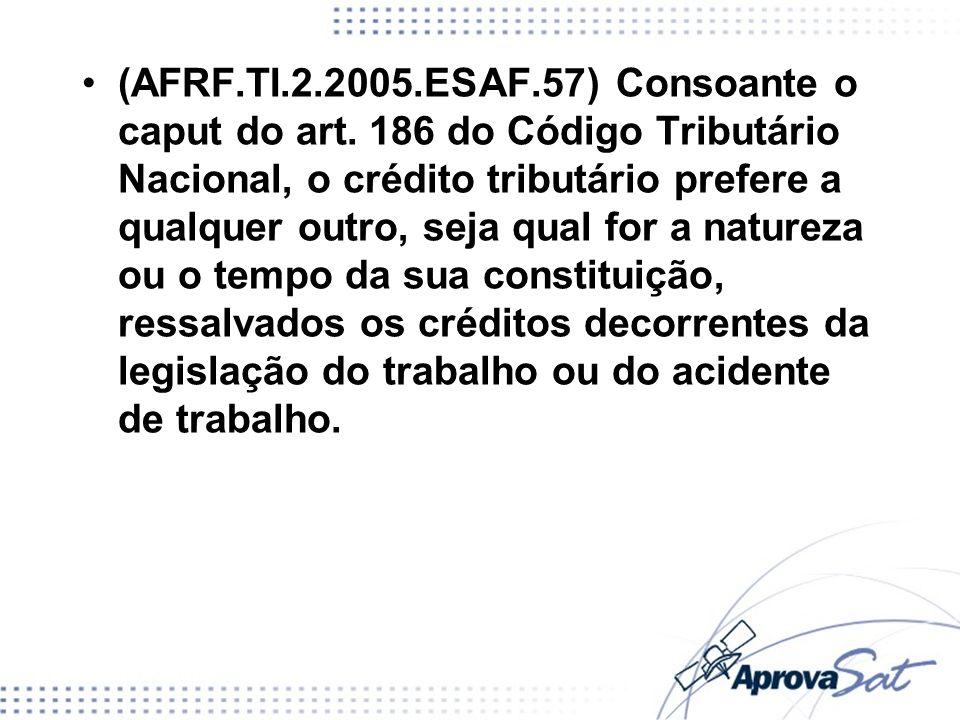 (AFRF.TI.2.2005.ESAF.57) Consoante o caput do art. 186 do Código Tributário Nacional, o crédito tributário prefere a qualquer outro, seja qual for a n