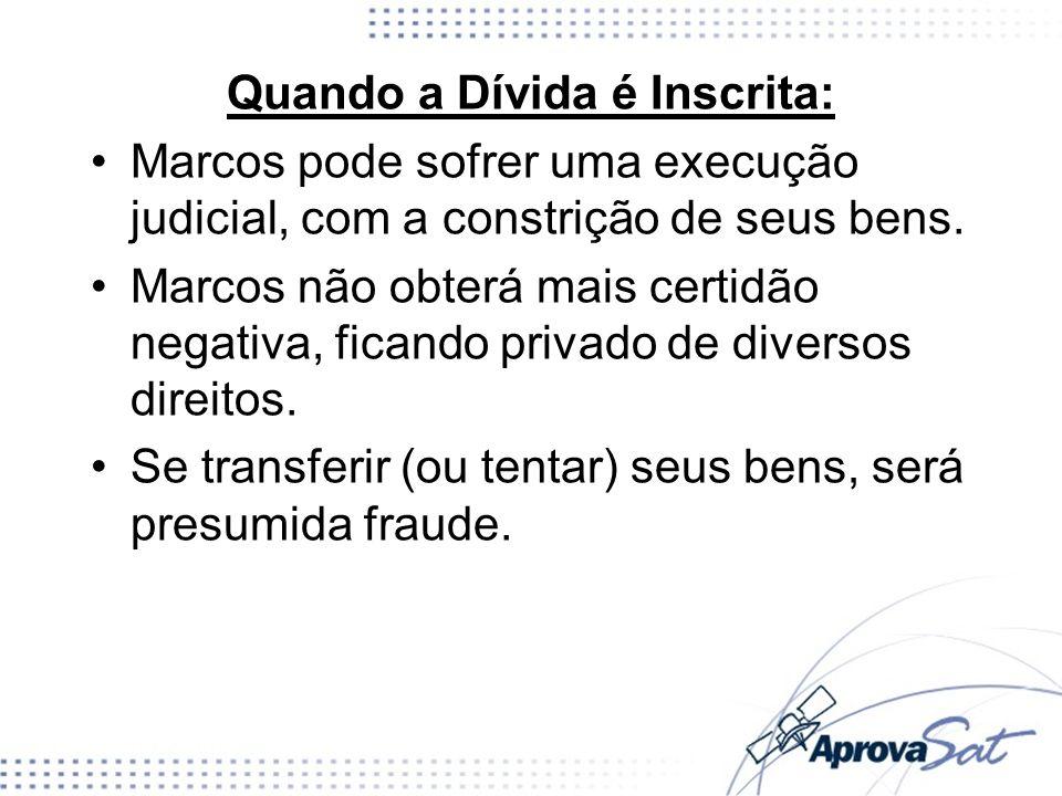 Quando a Dívida é Inscrita: Marcos pode sofrer uma execução judicial, com a constrição de seus bens. Marcos não obterá mais certidão negativa, ficando