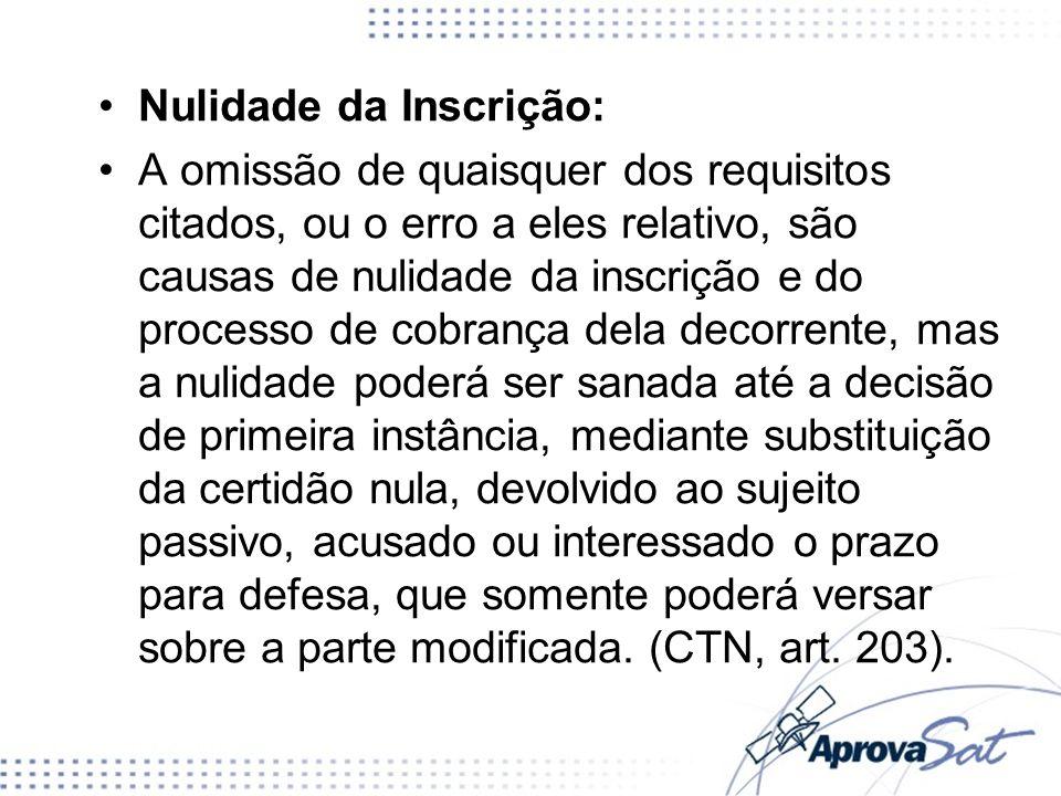 Nulidade da Inscrição: A omissão de quaisquer dos requisitos citados, ou o erro a eles relativo, são causas de nulidade da inscrição e do processo de