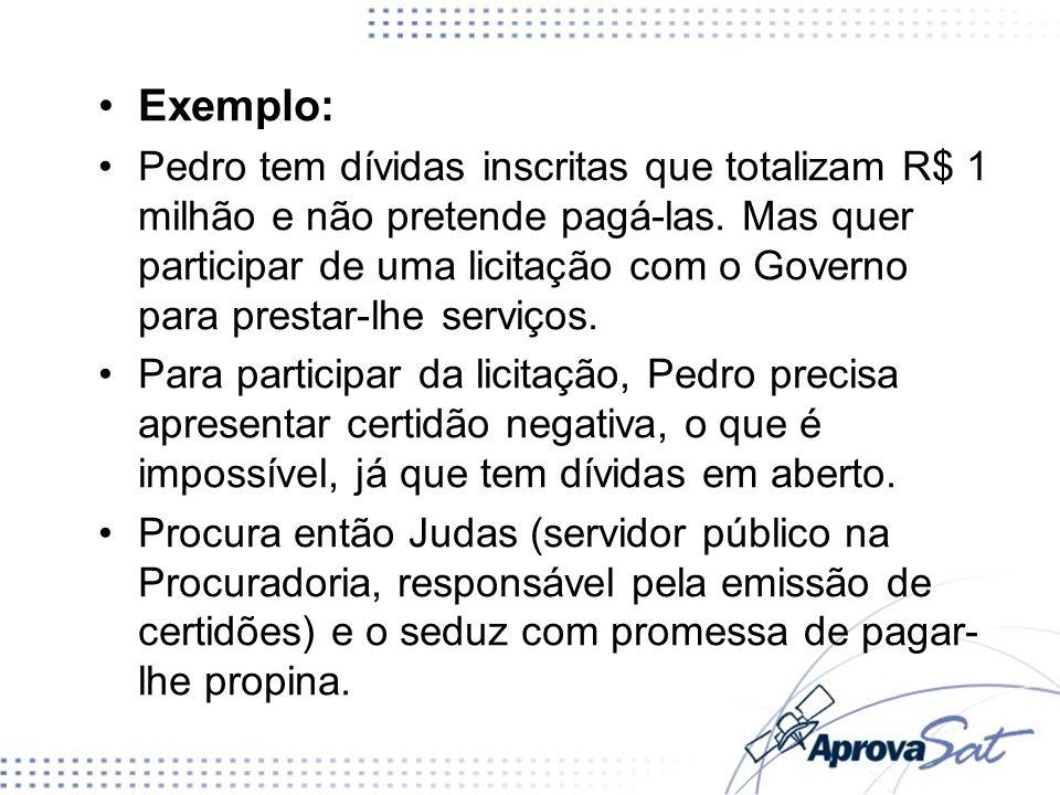 Exemplo: Pedro tem dívidas inscritas que totalizam R$ 1 milhão e não pretende pagá-las. Mas quer participar de uma licitação com o Governo para presta
