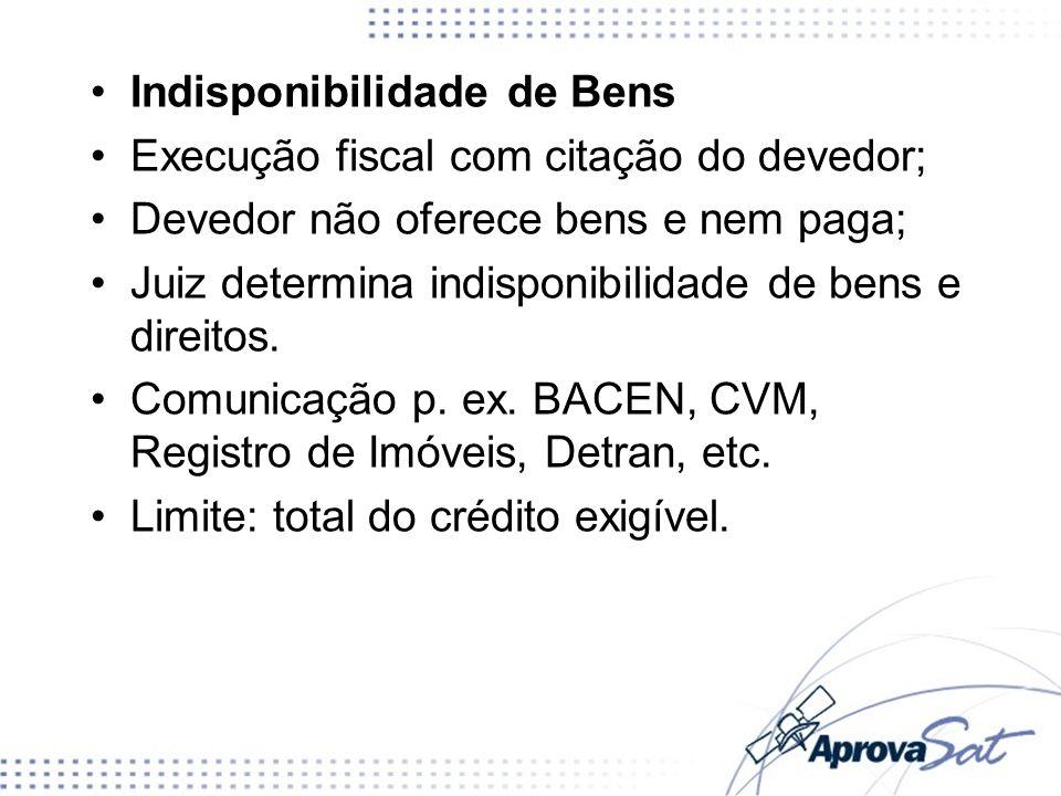 Indisponibilidade de Bens Execução fiscal com citação do devedor; Devedor não oferece bens e nem paga; Juiz determina indisponibilidade de bens e direitos.