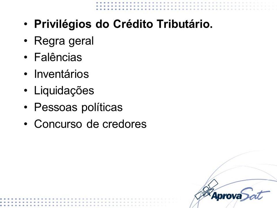 Privilégios do Crédito Tributário. Regra geral Falências Inventários Liquidações Pessoas políticas Concurso de credores