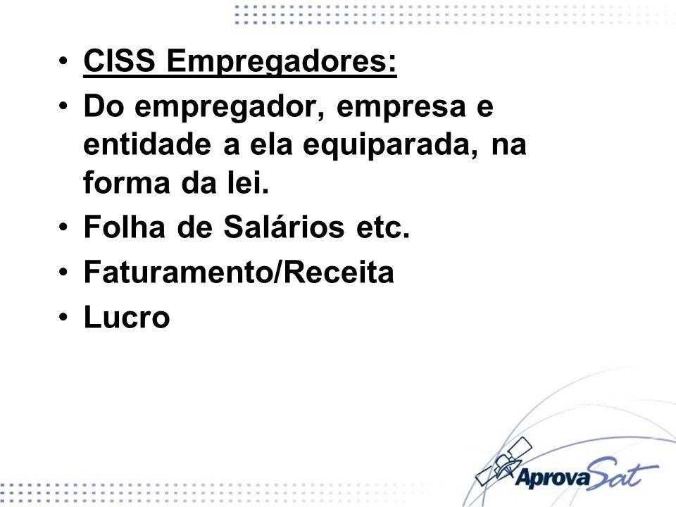 CISS Empregadores: Do empregador, empresa e entidade a ela equiparada, na forma da lei. Folha de Salários etc. Faturamento/Receita Lucro