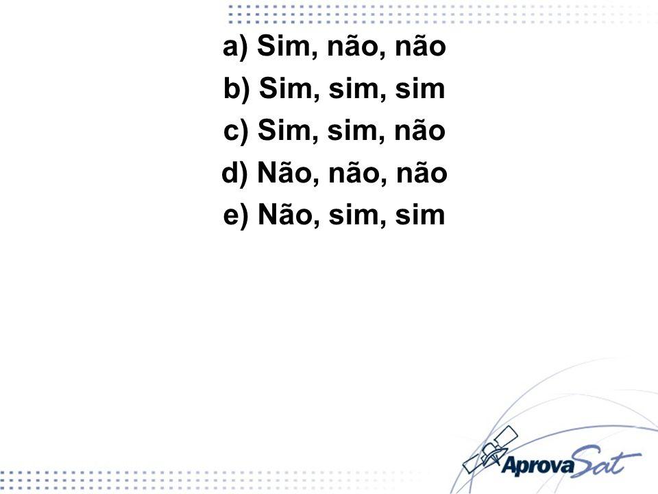 a) Sim, não, não b) Sim, sim, sim c) Sim, sim, não d) Não, não, não e) Não, sim, sim