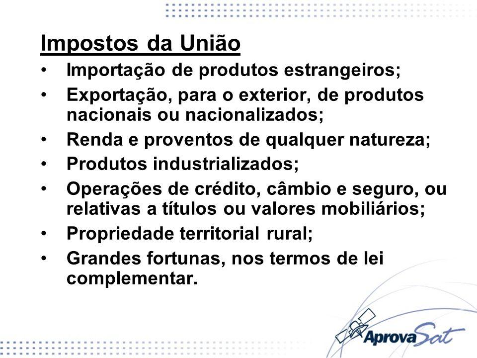 Impostos da União Importação de produtos estrangeiros; Exportação, para o exterior, de produtos nacionais ou nacionalizados; Renda e proventos de qual