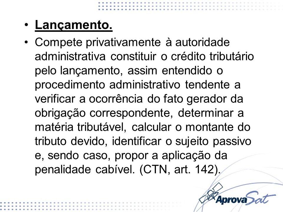 Lançamento. Compete privativamente à autoridade administrativa constituir o crédito tributário pelo lançamento, assim entendido o procedimento adminis